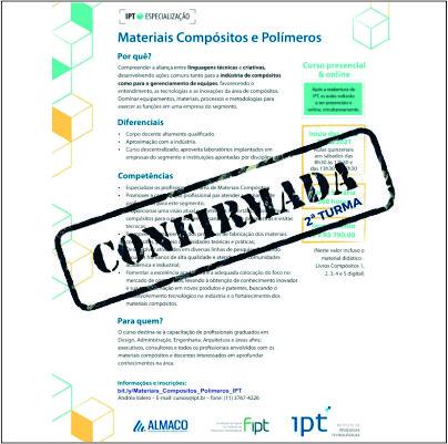 São Paulo: inscrições abertas para a pós-graduação em compósitos e polímeros
